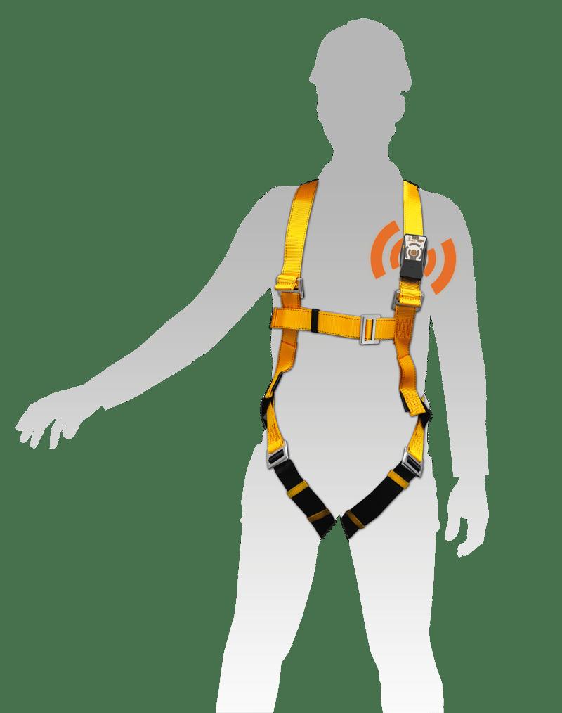 pti dati pour travailleur en hauteur avec un harnais de sécurité