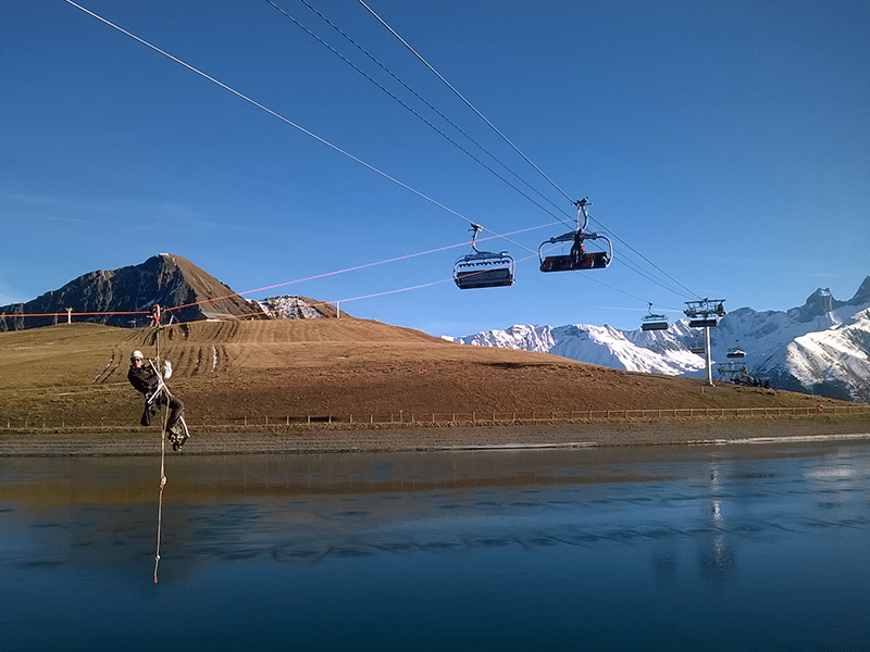 formation travail en hauteur - évacuation au dessus d'un lac